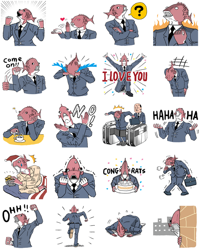 Business Fish Facebook Stickers