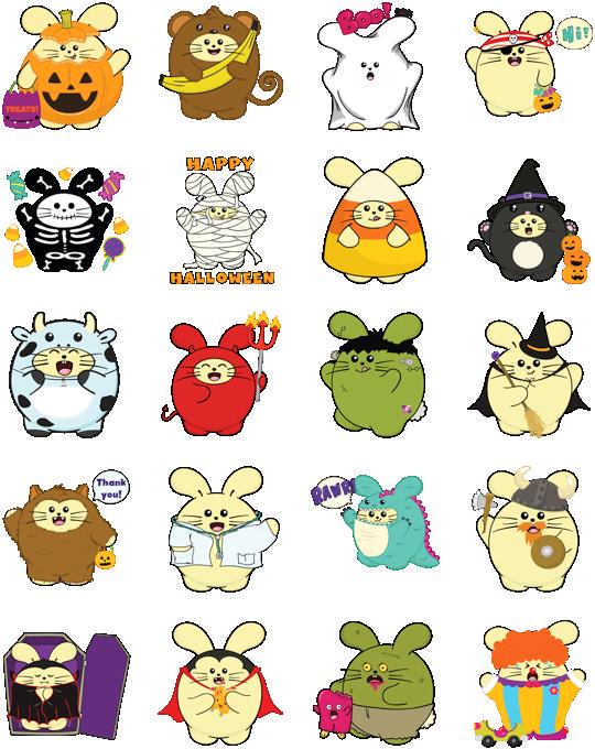 Fat Rabbit Halloween Facebook Stickers