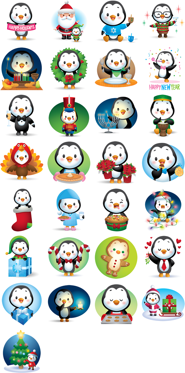 Waddles Holiday Facebook Stickers