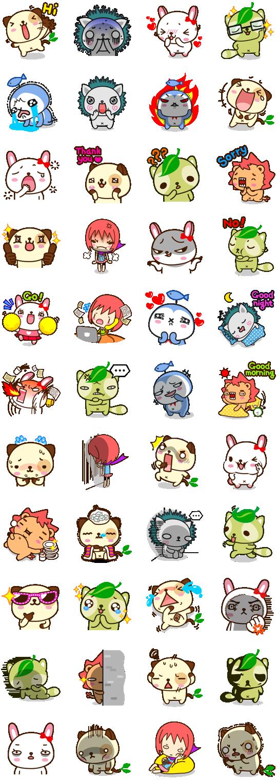 Pandadog and Friends Facebook Stickers