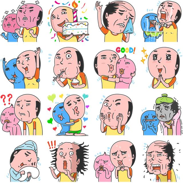 Mr Baldy & Friends Facebook Sticker
