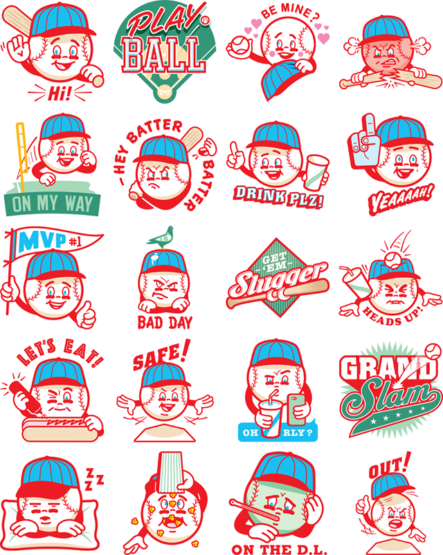 Play Baseball Facebook stickers
