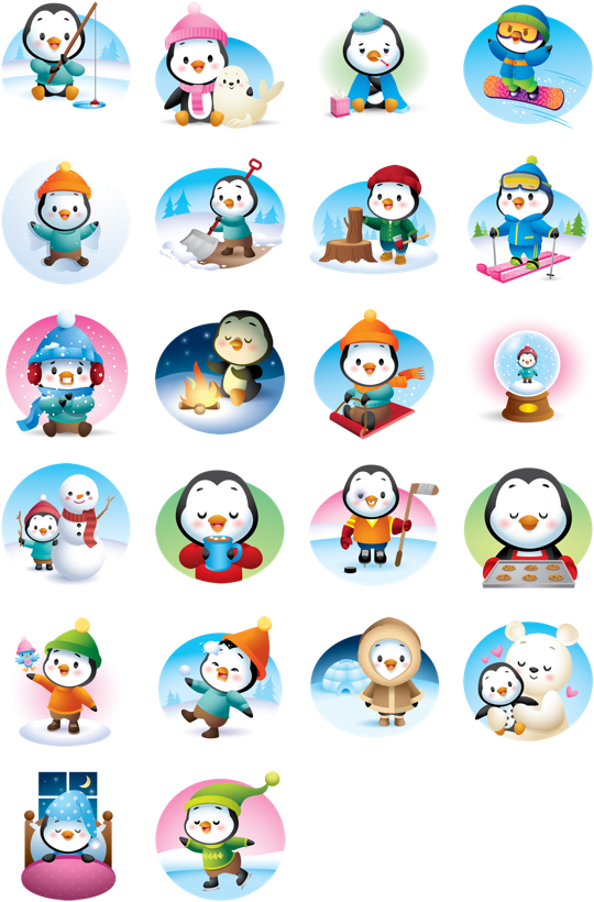 Waddles Winter Facebook Stickers