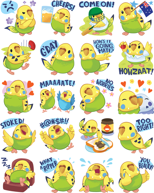Tweet Tweet Parakeet Facebook Stickers
