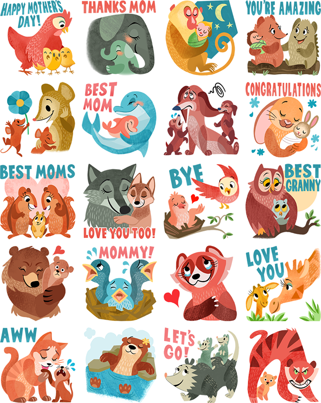Motherly love Facebook Stickers