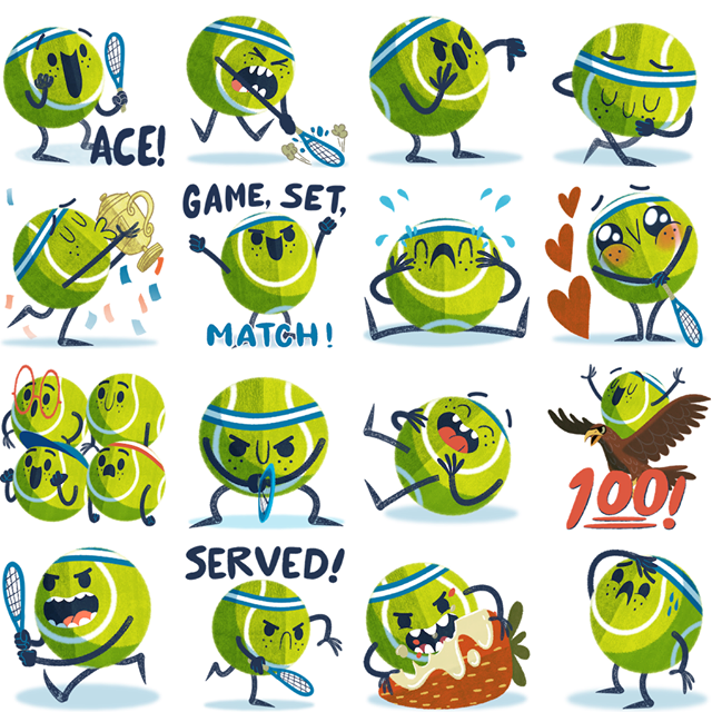 Ace the tennis star Facebook Stickers