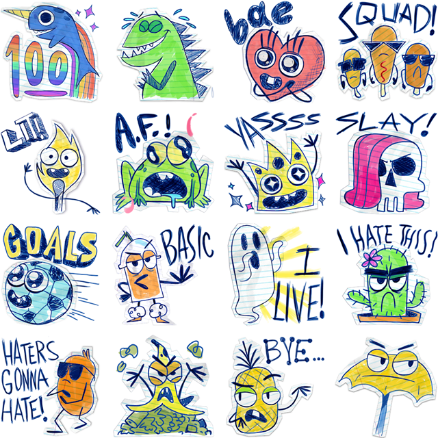 Scribble Squad Facebook Stickers