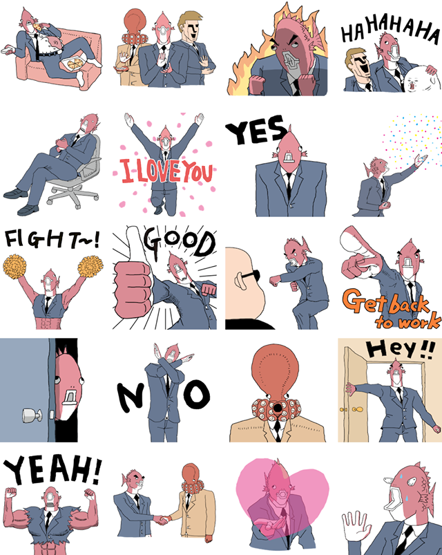 Executive Business Fish Facebook Stickers
