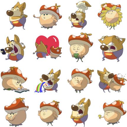 Little Mushroom and Chubby Wolf Facebook Sticker