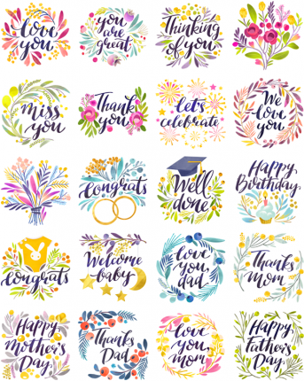Lovely Greetings Facebook Stickers