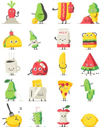 Moody foodies facebook stickers