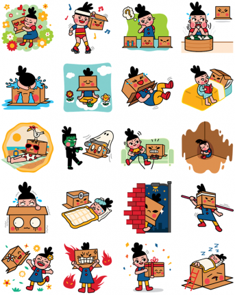 Box Girl Facebook Stickers