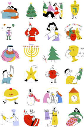 Merry and bright Facebook Stickers
