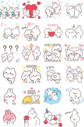 Mimi and Neko Facebook Stickers