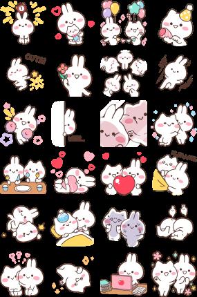 Happy Mimi and Neko Facebook Stickers
