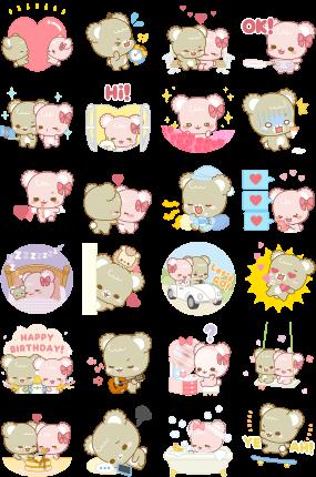 Sugar Cubs in Love Facebook Stickers