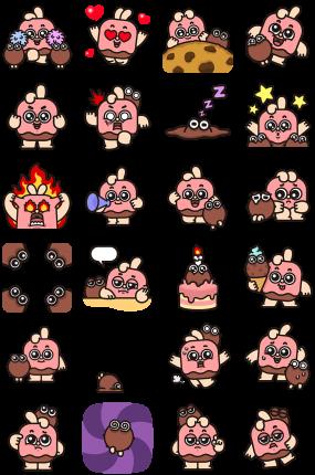 Choco Bunny & Coco Facebook Stickers